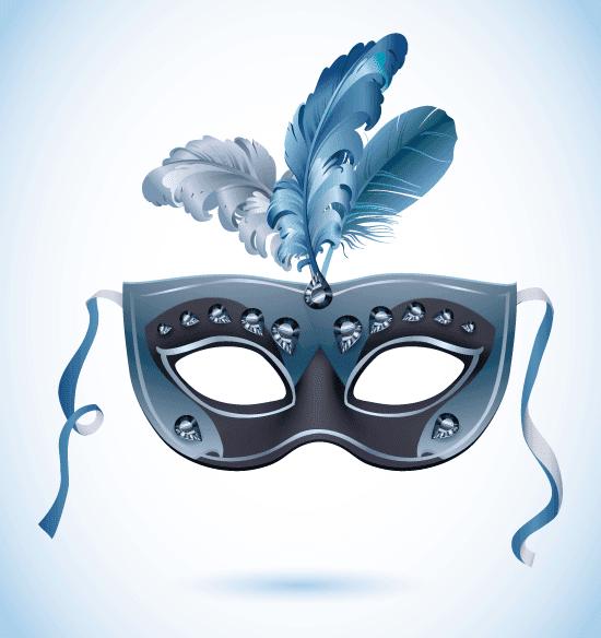 Máscara de carnaval azul con plumas - vector