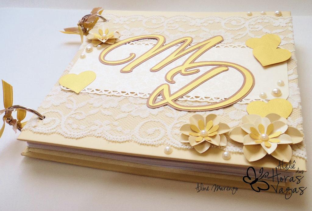 livro de mensagens recados casamento delicado renda rendado floral bege dourado palha creme
