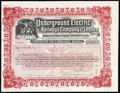 London Underground share certificate 1912