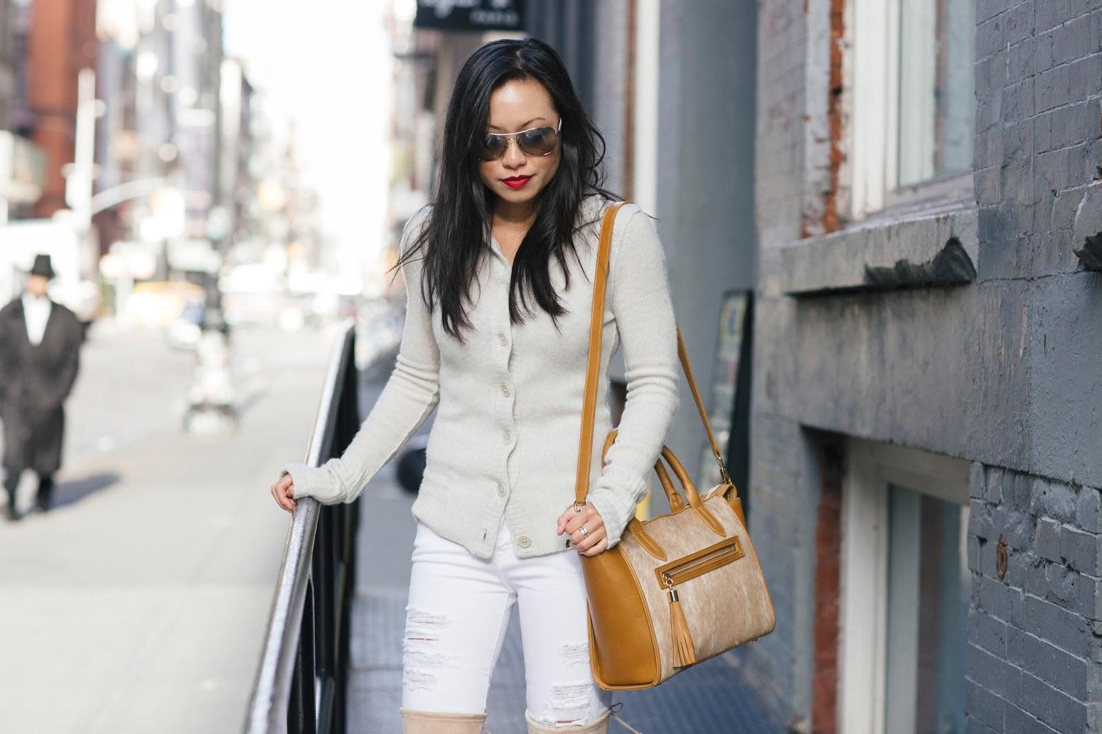 frame denim white distressed jeans gigi new york satchel bag