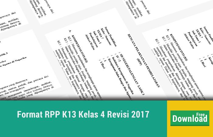 Format RPP K13 Kelas 4 Revisi 2017
