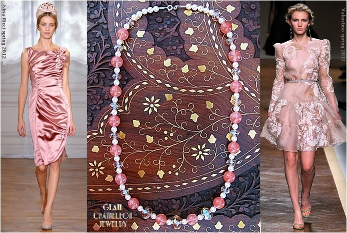 Glam Chameleon Jewelry cherry quartz pearls pink crystals necklace