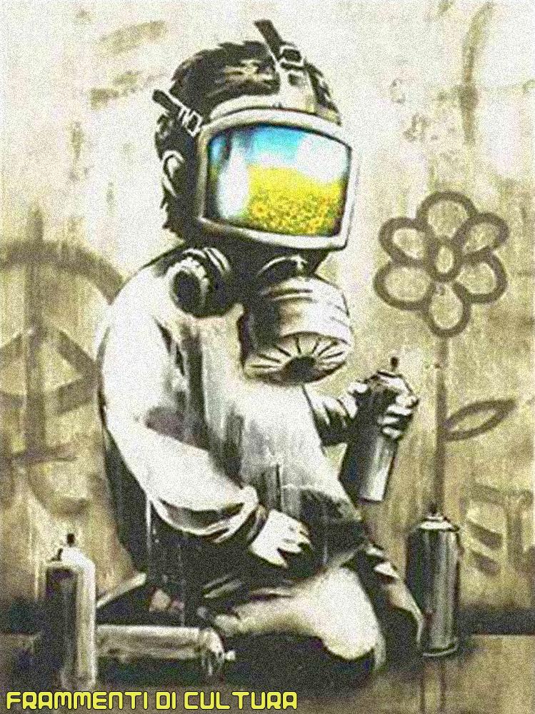 Graffiti Bansky inquinamento bambino con maschera antigas