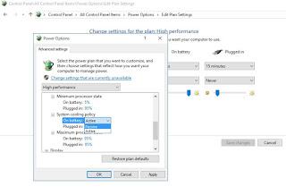 Mengubah setting power plan windows 10 untuk mengatasi laptop overheat