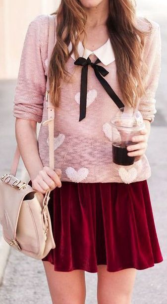 trendy valentines day outfit idea_printed sweater + bag + white shirt + velvet skirt