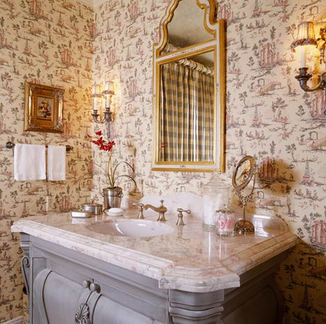 Hydrangea hill cottage search results for charles faudree for French country bathroom wallpaper