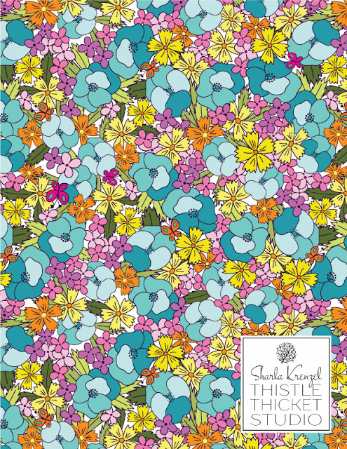 Pansy Parade Surface Pattern Designed By Thistle Thicket Studio. www.thistlethicketstudio.com