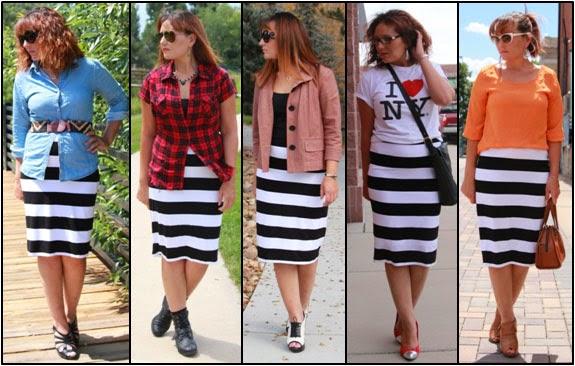 88b8ac1145 FranniePantz: Thursday Mixer--Black and White Striped Pencil Skirt