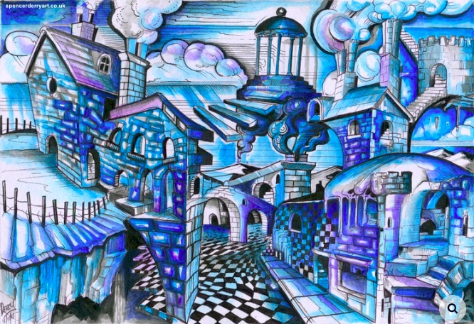 Original hand-drawn surrealistic architecture ink drawing, painted with acrylic wash. Size A4: 29.7cm x 21cm, 220 gsm white paper (not framed) Media: Ink and acrylic paint. Signed and Dated by Artist Spencer J. Derry in 2015.