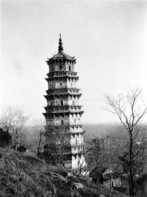 black and white photo of Hongshan Pagoda