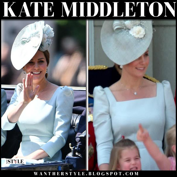 Kate Middleton in pale blue dress alexander mcqueen with blue floral fascinator Trooping the Colour royal family fashion june 9