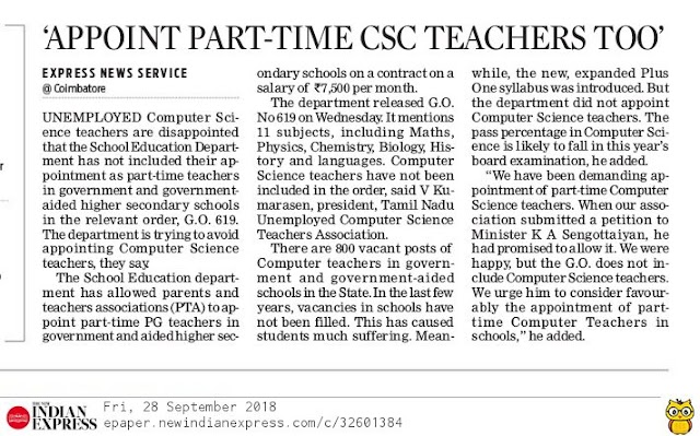 APPOINT PART-TIME COMPUTER SCIENCE TEACHERS TOO'
