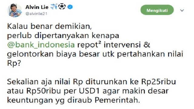 Sri Mulyani Sebut Pelemahan Rupiah Naikkan Pendapatan Negara, Alvin Lie Beri Tanggapan