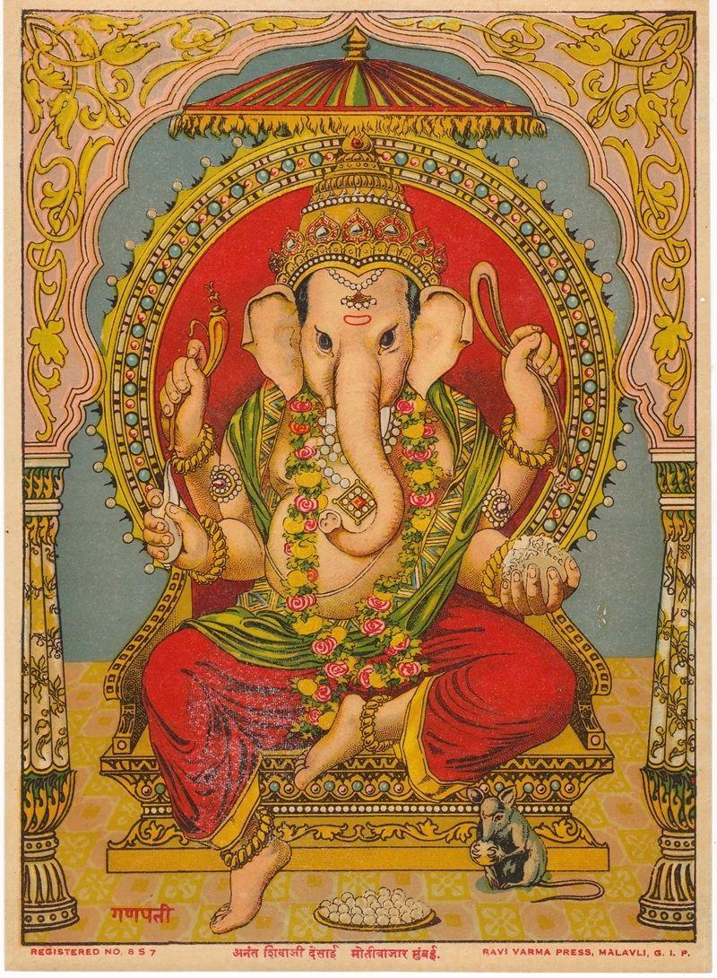Ganapati - Vintage Olegraph/Lithograph Print, Ravi Varma Press c1920-30