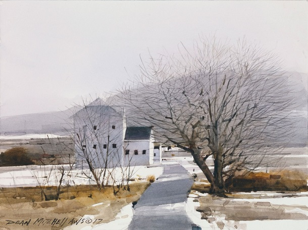 "by Dean L. Mitchell, ""Winter Light"" - watercolor 