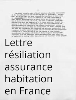 Lettre résiliation assurance habitation en France