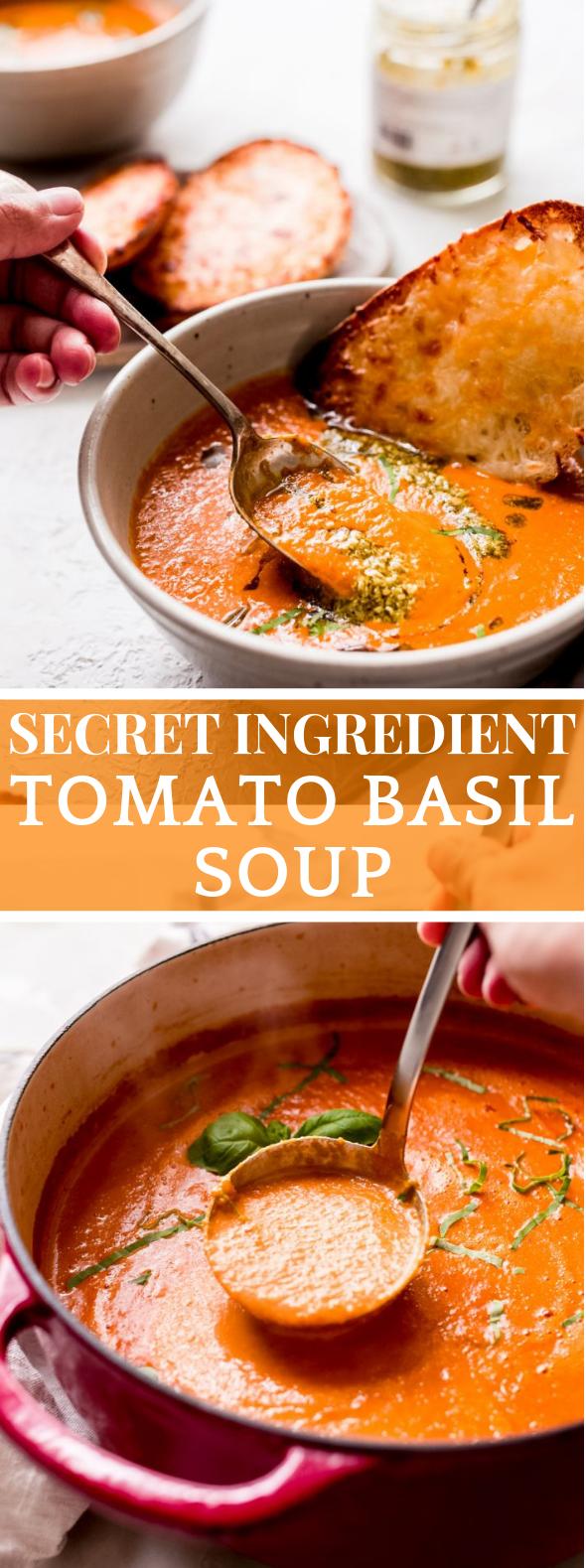 SECRET INGREDIENT TOMATO BASIL SOUP #vegetarian #tomatoes