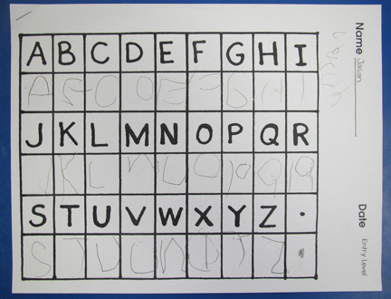 Writing alphabet letters assessment