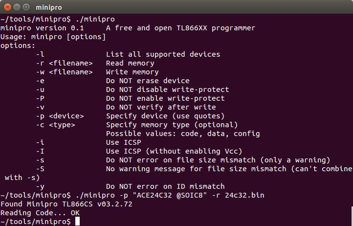 Reversatronics: TL866 + MiniPro under Linux