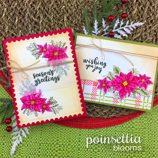 Poinsettia Cards by Jennifer Jackson | Poinsettia Blooms Stamp Set and Plaid Stencil Set by Newton's Nook Designs #newtonsnook #handmade