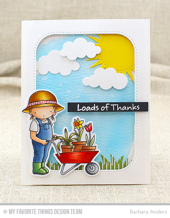 Loads of Thanks Card by Barbara Anders featuring the Pure Innocence Loads of Thanks stamp set and Die-namics, and the the Inside & Out Stitched Rounded Rectangle STAX, Puffy Clouds, and Radiant Sun STAX Die-namics #mftstamps