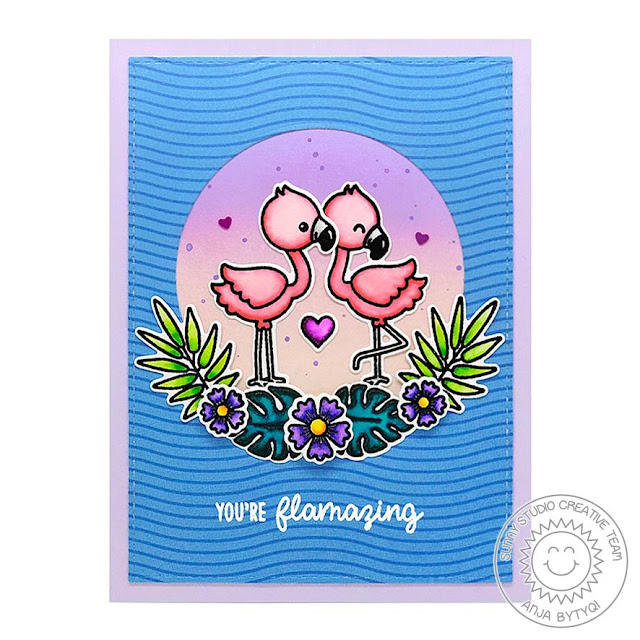 Sunny Studio Stamps: Fabulous Flamingos Fancy Frames Dies You're Flamazing Summer Themed Punny Cards by Anja Bytyqi and Vanessa Menhorn