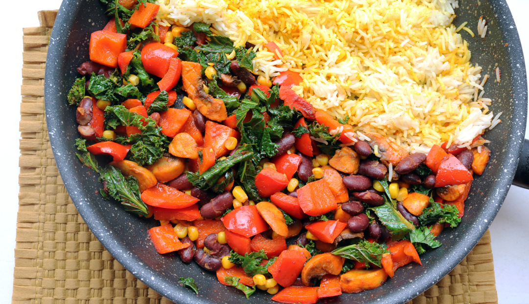 Healthy Kale, Turmeric Rice & Bean Bowl (Vegan recipe)
