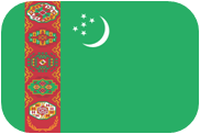 Rounded flag of Turkmenistan