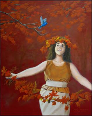 pretty,beautiful,girl,woman,autumn,fall,maple,leaves,bird,indigo bunting,garlands,fantasy,red,orange,chubby,plump