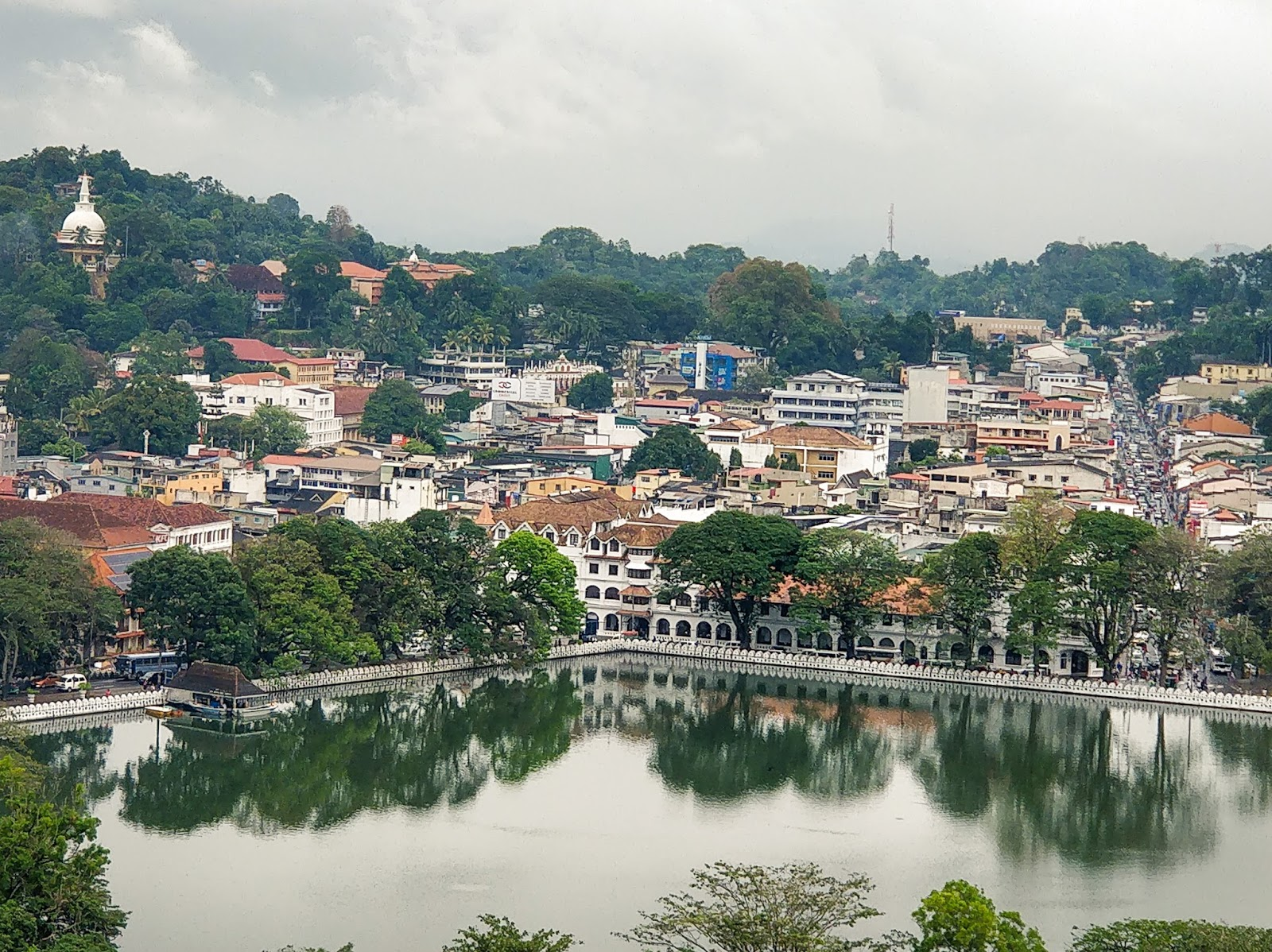 Kandy Lake as seen from the Upper Lake Drive, Kandy, Sri Lanka