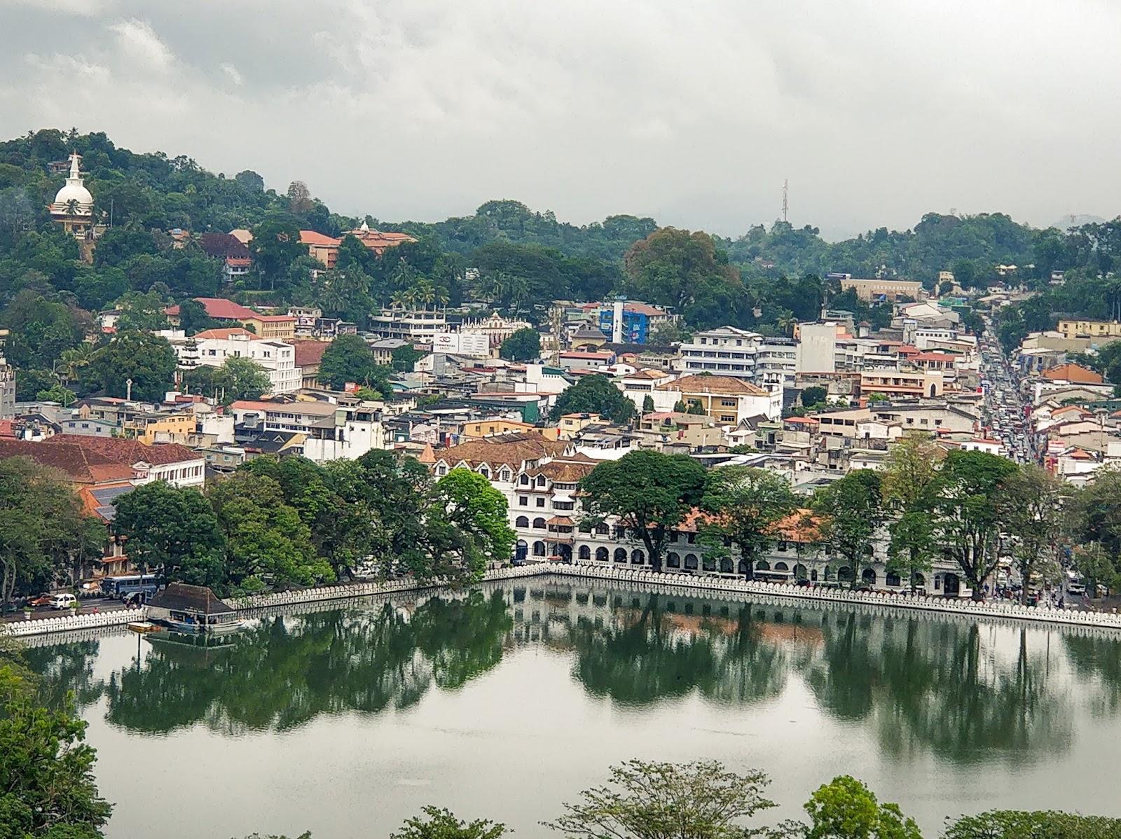 Kandy Lake as seen from the Upper Lake Drive, Kandy, Sri Lanka