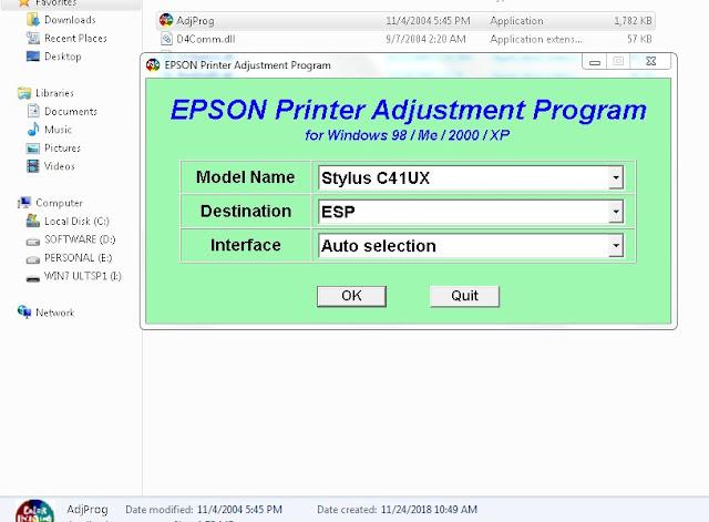 Resetter Epson Stylus C41UX