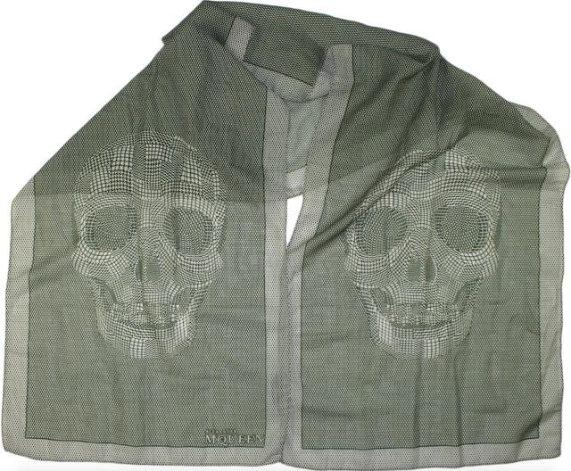 Alexander McQueen Green Skull Pattern Scarf