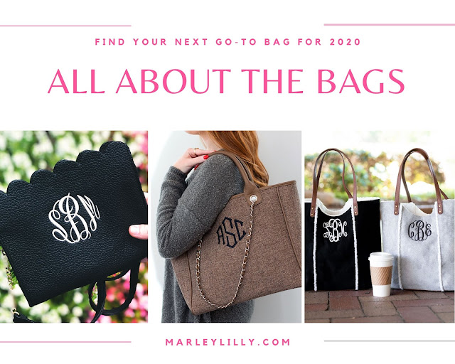 scallop bag, monogram purses, monogram totes