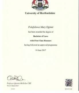 Folafoluwa Oginni Graduates From Heterfordshire University
