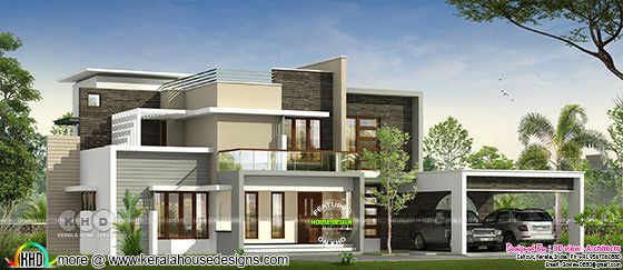 4 BHK luxurious flat roof contemporary home