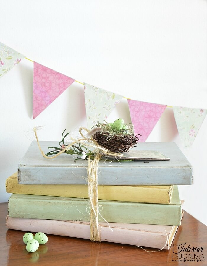 Shabby Chic Painted Books For Spring