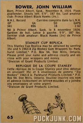 1963-64 Parkhurst #65 - Johnny Bower