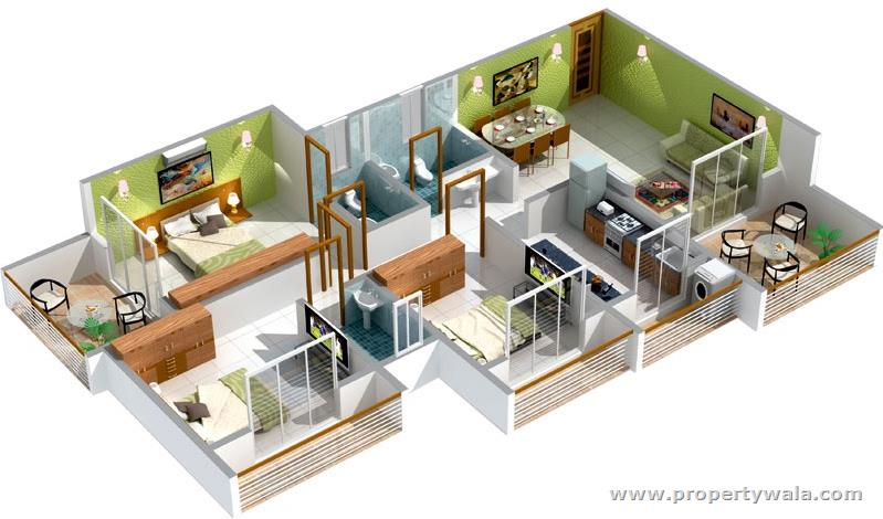 denah 2 kamar dan 2 balkon di setiap kamarnya referensi rumah