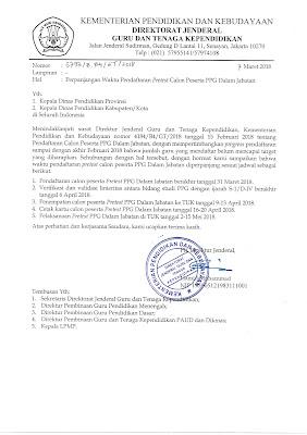 SE Perpanjangan Waktu Pendaftaran PPG dalam jabatan