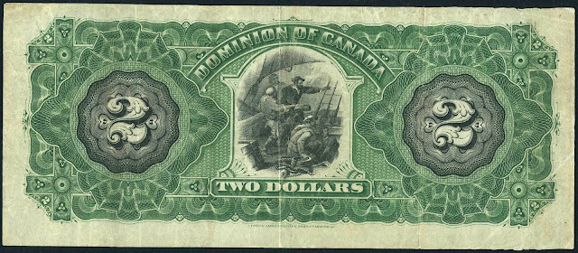 Dominion of Canada Two Dollar Bill 1887 French explorer Jacques Cartier arrived at Quebec