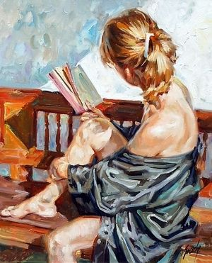 Painting of Young Woman Reading