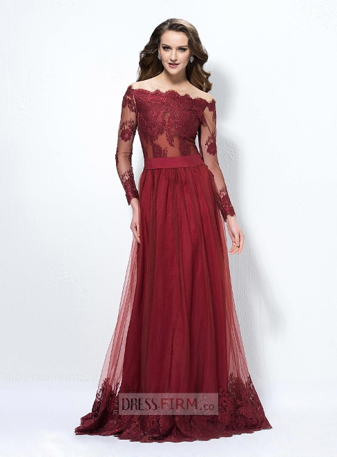 2017 New Style A-Line Off-The-Shoulder Long Sleeves Lace Button Gowns / Dresses For Evening Designed Independently -  Price:£ 119.44