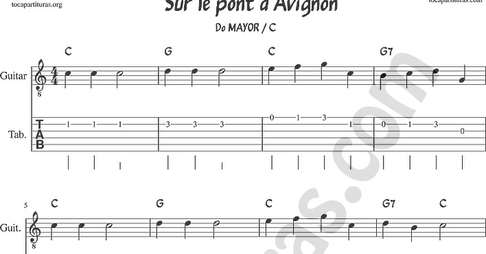 Tubescore On The Bridge Of Avignon Tab Sheet Music For