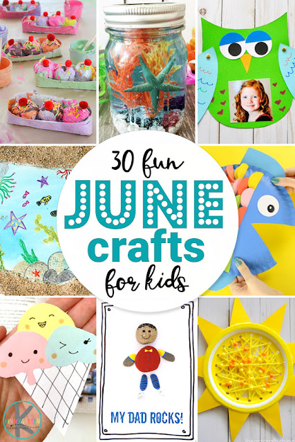 30 fun JUNE CRAFTS for kids - so many fun, clever, and unique seasonal crafts perfect for summer! These crafts for toddler, preschool, kindergarten, first grade, 2nd grade, and families are perfect for your summer bucket list and include ice cream, fish, sun, Father's day, and more #junecraftsforkids #craftsforkids #kindergartencrafts