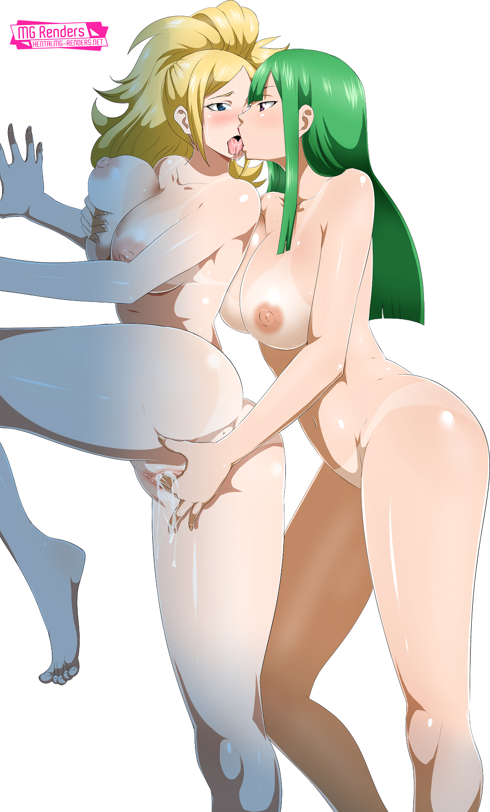 Tags: Anime, Render,  Bisca Connell,  Breast Grab,  Fairy Tail,  Feet,  Huge Breasts,  Jenny Realight,  Kiss,  Nipples,  No bra,  Pussy Juice,  Saliva,  Tongue,  Vagina,  Vaginal Fingering,  Yuri, PNG, Image, Picture