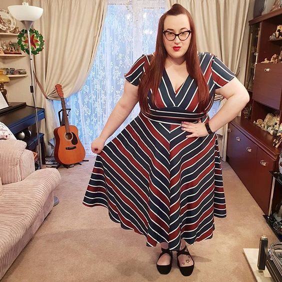plus size girl wearing Voodoo Vixen Addison Dress