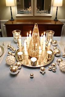 mesa navidad dorado plata