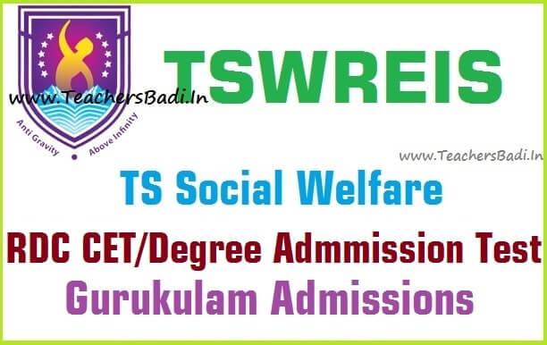 TS Social Welfare,RDC CET,tswreis degree admission test 2016