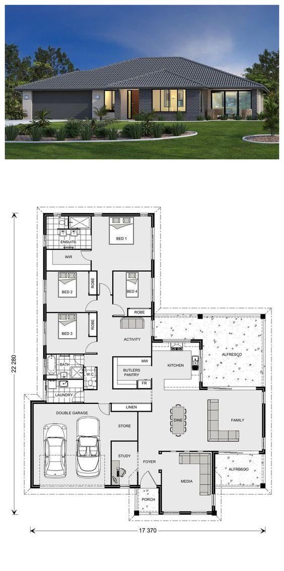 แบบบ้านชั้นเดียว 4 ห้องนอน